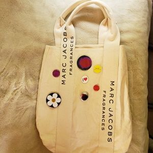 Marc Jacob's tote bag with pin on buttons
